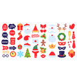 christmas photo props new year party photo booth vector image vector image