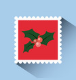 christmas post stamp vector image vector image