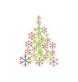 christmas tree from beautiful geometric snowflake vector image