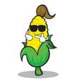 cool face sweet corn character cartoon vector image vector image
