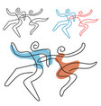 dancing couple line art vector image vector image