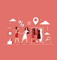 discount shopping on female clothes concept vector image