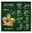 Fast food menu chalk sketch on blackboard vector image vector image