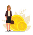 financial advisor businesswoman is standing near vector image vector image