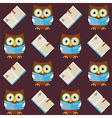 Flat Seamless Pattern Wisdom Owl Reading Book vector image vector image
