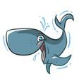 funny cartoon bawhale vector image vector image