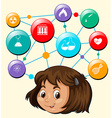 Girl head and science symbols vector image vector image