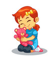 girl playing with her bear doll vector image vector image
