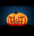 halloween pumpkin on graveyard grass vector image vector image