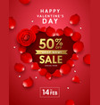 happy valentines day rose sale heart shape poster vector image vector image