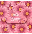 hello spring text floral background vector image