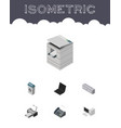 isometric cabinet set of computer garbage vector image vector image
