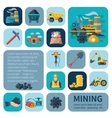 Mining Icons Flat Set vector image vector image
