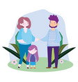 mom father holding hands and daughter in grass vector image