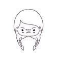 monochrome silhouette of kawaii head little girl vector image vector image