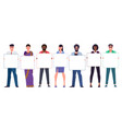 multinational diverse young men and women team vector image