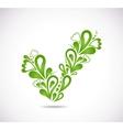 Ornamental green checkmark vector image