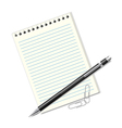 pen sheets of paper and clips vector image