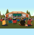 people in an outdoor concert vector image vector image