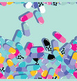 pills and capsules seamless pattern pop modern vector image