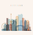 rotterdam skyline detailed silhouette vector image vector image