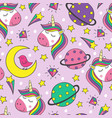 Seamless pattern with little unicorns and planets