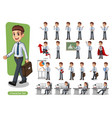 set of businessman cartoon character design vector image vector image