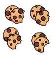set of chocolate chip cookies with bite vector image vector image