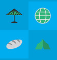set of simple holiday icons elements world camping vector image
