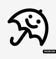 smile waterproof umbrella symbol black and white vector image
