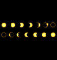 solar eclipse phases in dark sky vector image vector image