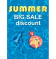Summer big discount Shark around a fat man on vector image