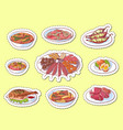 Thai cuisine dishes isolated labels