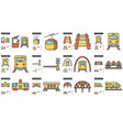 transportation line icon set vector image