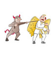 tug-of-war between a devil and an angel vector image