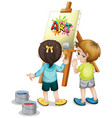 two children painting on canvas on white vector image vector image