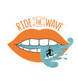 with surfer and women lips ride wave vector image