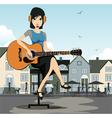 Woman guitarist vector image vector image