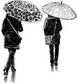 women in rain vector image vector image