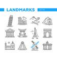 world famous landmarks - line design icons set vector image vector image