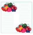 writing paper with berries vector image vector image