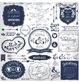 Retro hand drawn elements for wedding invitations vector image
