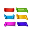Set of colorful curved paper ribbon banners with vector image