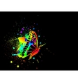 Rainbow ink butterfly on black background vector image