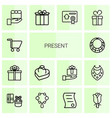 14 present icons vector image vector image