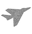 airplane intercepter mosaic of dots vector image