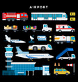 airport exterior airplanes different planes vector image vector image