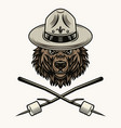 bear scout in hat and marshmallow on sticks vector image vector image