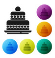 black cake icon isolated on white background vector image vector image