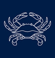 blue crab on navy blue background vector image